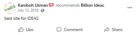 Billion Ideas Feedback - Facebook